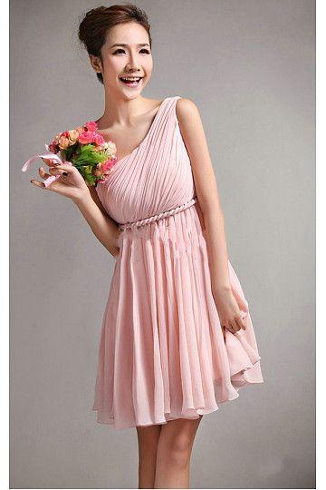 2016 Elegant Pink A-line Knee-length Bridesmaid Dresses