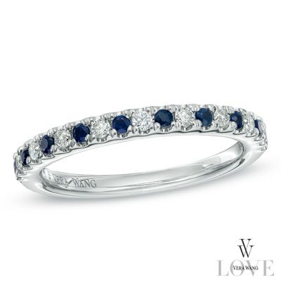 Alternating round diamonds and brilliant blue sapphires.