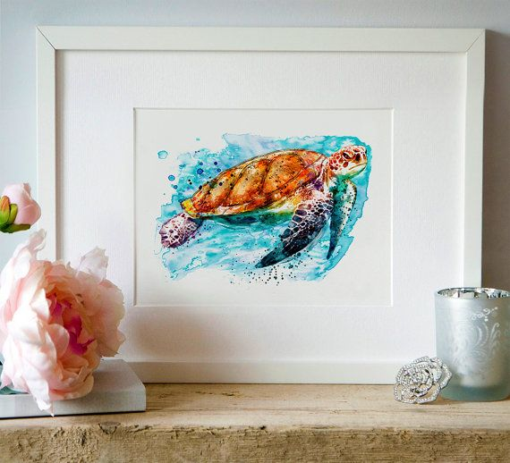 Sea Turtle Watercolor painting Wall art Wildlife by Artsyndrome