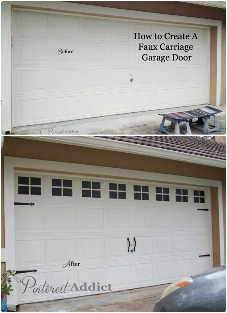 garage door before and after  -  Don't know if I'd have the courage to do this, but I love the concept