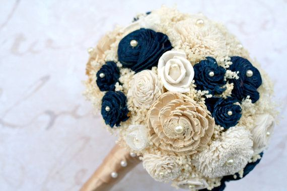 Gold & Navy Everlasting Bride's Bouquet by TheSunnyBee #goldwedding #navywedding