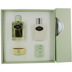 PRADA INFUSION D'IRIS by Prada SET-EAU DE PARFUM SPRAY 3.4 OZ & BODY LOTION 3.4 OZ & BATH SOAP .7 OZ & CANDLE 1.6 OZ by Prada. Save 30 Off!. $84.19. Design House: Prada. Recommended Use: casual. Fragrance Notes: Mandarin Orange, Frankincense, Lentisk, Orange Blossom, Cedar, Iris, Vetiver, Benzoin, Galbanum. Mandarin Orange Frankincense Lentisk Orange Blossom Cedar Iris Vetiver Benzoin Galbanum