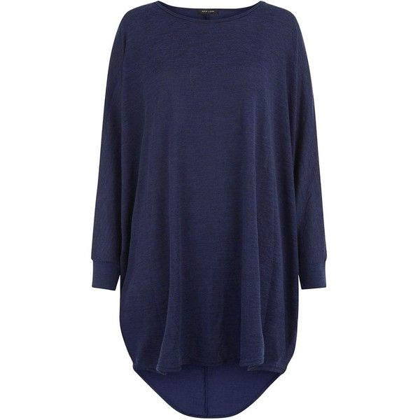 Navy Fine Knit Oversized Batwing Jumper ($27) ❤ liked on Polyvore featuring tops, sweaters, shirts, navy sweater, long sleeve sweaters, oversized long sleeve shirt, blue knit sweater and blue sweater