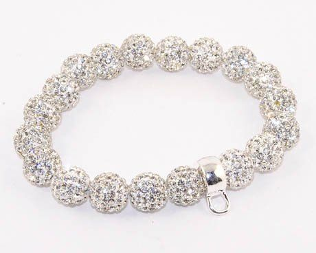 White (clear) Crystal - CZ Disco Ball, Silver Plated Charm Holder Stretch Bracelet Silverinvasion Jewelry. $25.95. silver plated alloy charm holder. 19 pcs 10MM Clear Crystal Ball