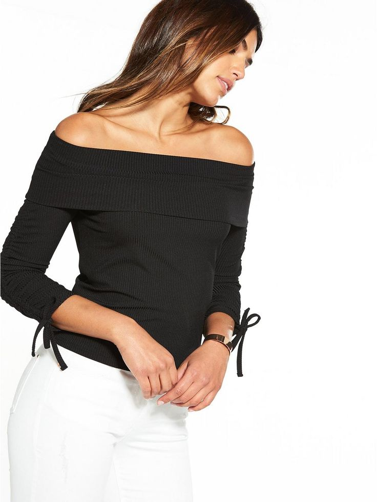 V by Very Rib Bardot Top - Black, http://www.very.co.uk/v-by-very-rib-bardot-top-black/1600184777.prd