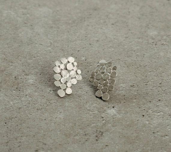 streling silver Cluster earrings valentine's gift by StudioBALADI