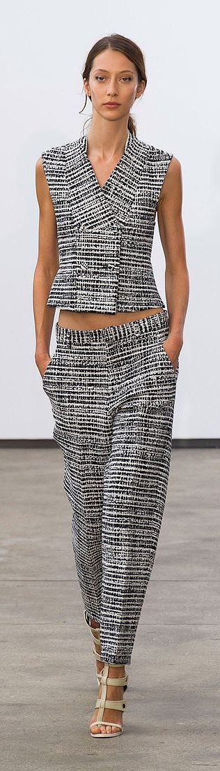 This black and white print is a bold statement in women's fashion when paired together / blouse and pant. Derek Lam at New York Fashion Week Spring 2014