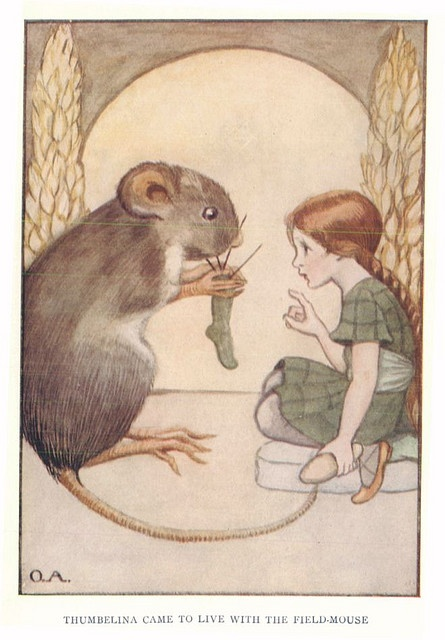 Thumbelina Came to Live with a Field Mouse - remember this illustration from a childhood book.