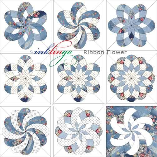 Inklingo Ribbon Flower Quilt Blocks