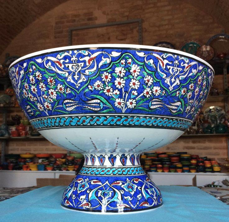 ONE OF A KIND TURKISH CERAMIC BOWL WITH LEG, 40 cm