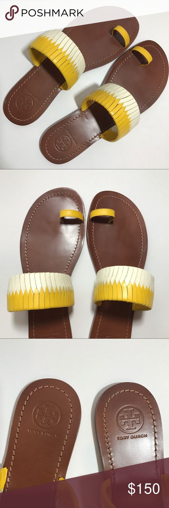 NWT TORY BURCH - Woven Flat Slide Sandals Brand new without box Tory Burch flat toe ring slide sandals with woven detailing in yellow and white. Timeless summer silhouette constructed of nappa leather upper, leather lining, and rubber sole. Made in Brazil. Open toe, slip on, contrast woven band. Perfect for these warm summer days! Tory Burch Shoes Sandals