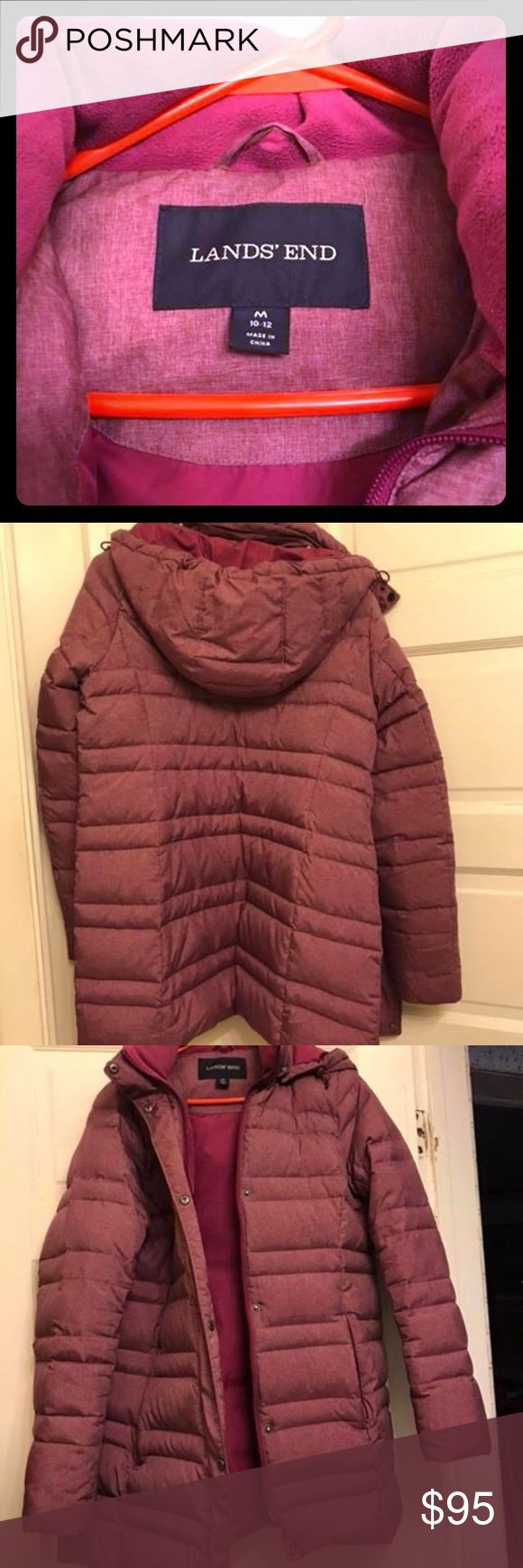 Lands end winter down coat woman's Very warm winter coat for sale! Great condition! Non smoking home. This coat was only worn for 1 season. Down, very good quality and nice color - hard to describe, a heathered pinkish purple color. Please let me know if you have any questions. Size m 10-12. Lands' End Jackets & Coats Puffers