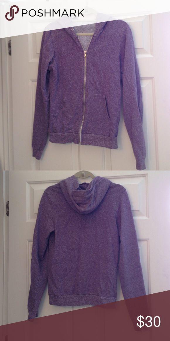 American Apparel Purple Zip-up Hoodie Good condition. Zipper works. Hoodie does not have string. American Apparel Sweaters