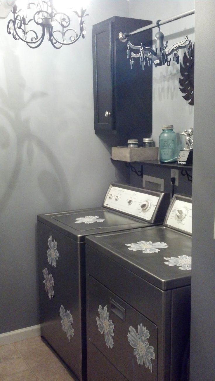 painted washer/dryer with brushed nickel spray paint; custom made magnetic flowers for fun