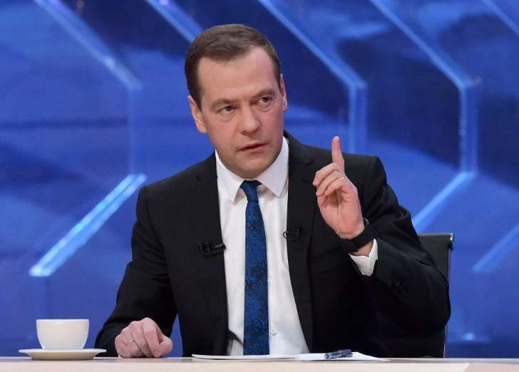 Russian PM Medvedev gives interview to Russian TV channels in Moscow