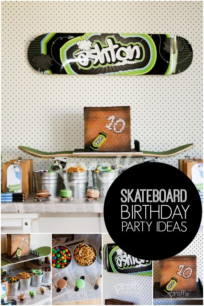 Skateboard Birthday Party Ideas for Boys www.spaceshipsandlaserbeams.com