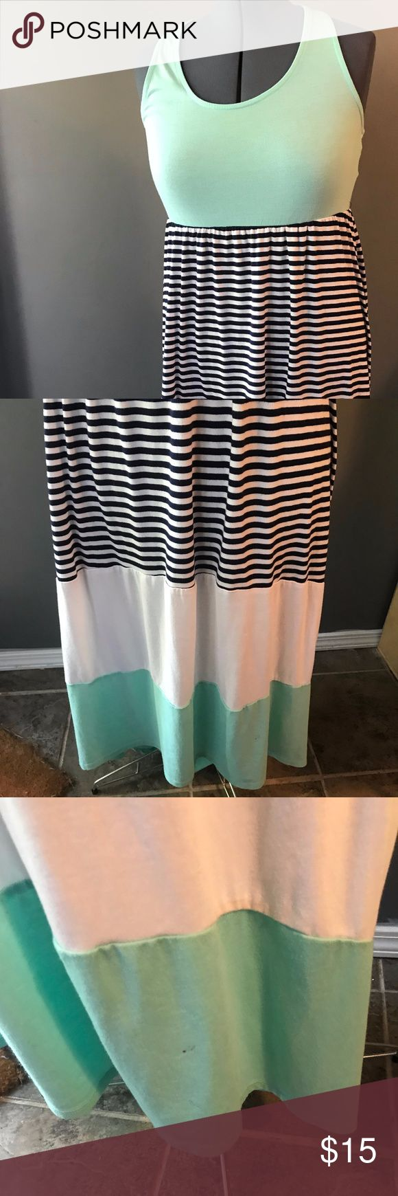 """Mossimo Supply Co. Mint Navy High Low Dress XL Super cute high low dress from Mossimo Supply Co! Mint color at the top and bottom, navy and white stripes and white section. T shaped back. Size Extra Large. Good condition, only worn once. Has small nail polish stain near hem (pictured). Not very noticeable. No other known flaws.  Pit to pit laying flat: 18"""" Shoulder to hem (Front): 44"""" Shoulder to hem (Back): 55""""  Smoke free home. Mossimo Supply Co. Dresses High Low"""