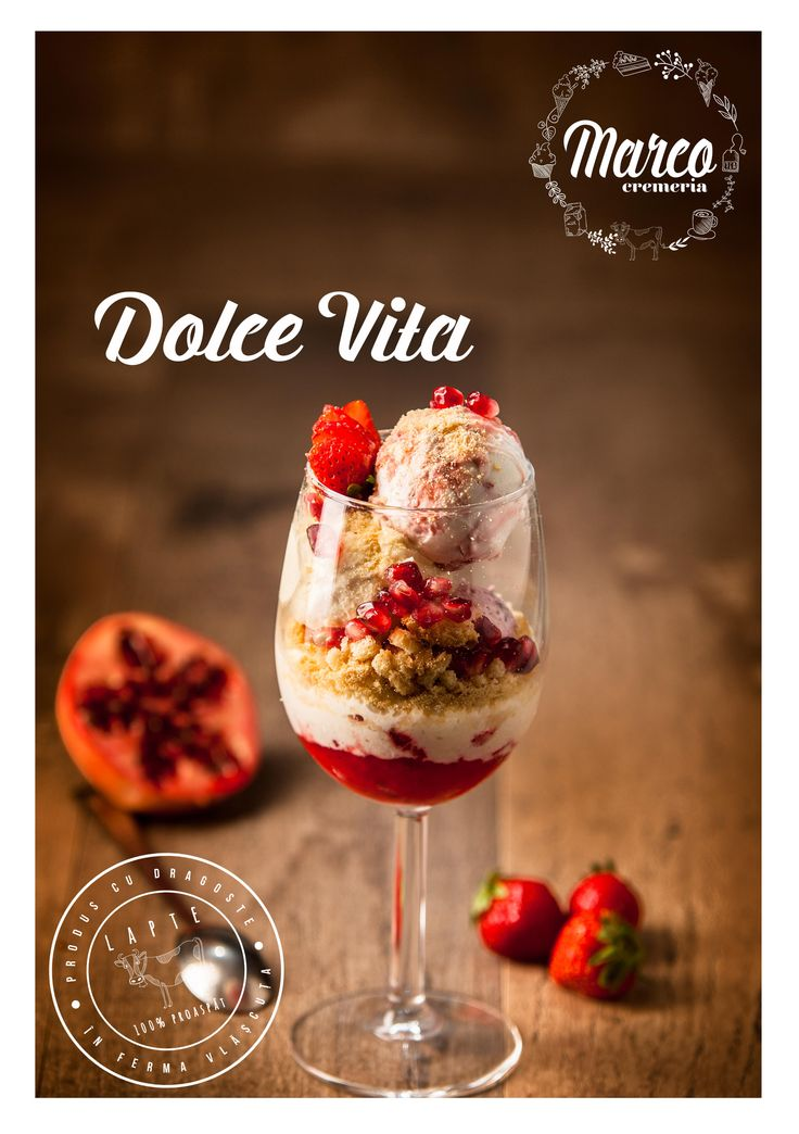 Dolce Vita. Specialitate din inghetata Cremeria Marco cu lapte proaspat din ferma proprie, Vlășcuța.