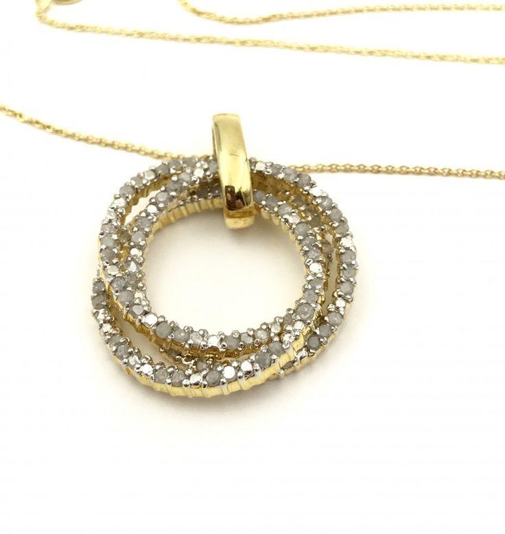 Sterling Silver 1.0 Carat Diamond Trinity Rings Pendant Necklace. Robert Seemann RSE , Vermeil Gold, Sterling Silver, Designer - REMIjewels.com  #goldoversilver #womensstyle #diamondsareforever