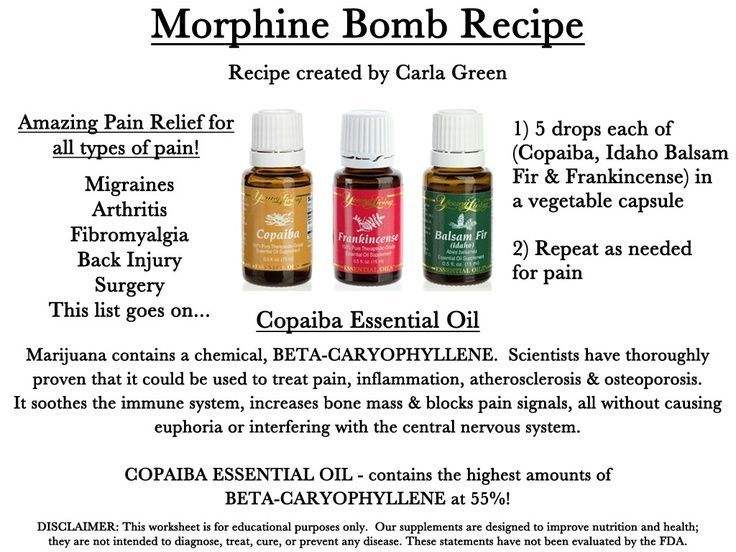 Morphine Bomb Young Living.  Need to get Copaiba and Balsam Fir and then will try out this natural pain killer
