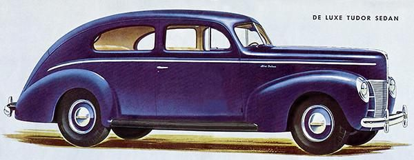 1940 Ford De Luxe Tudor Sedan - Promotional Advertising Poster