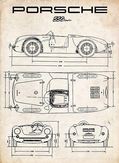 PORSCHE 550 SPYDER DIAGRAM VINTAGE RACECAR - PARCHMENT 911 356 ...repinned für Gewinner! - jetzt gratis Erfolgsratgeber sichern www.ratsucher.de