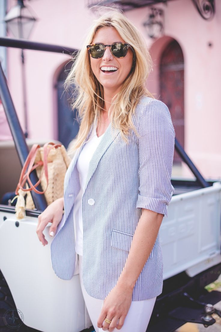 This perfect seersucker blazer is great for road trips, board meetings, and everything in  between.