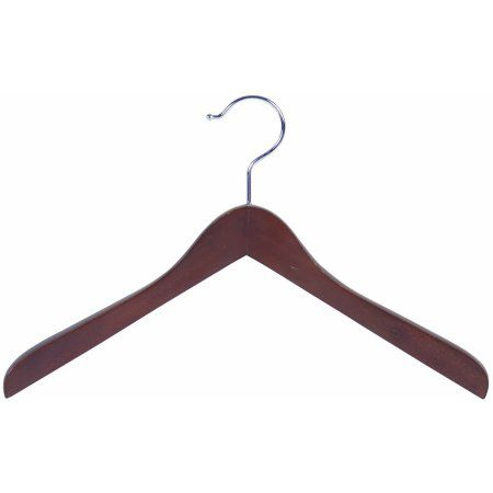 International Hanger Wooden Concave Top/Coat Hanger, Walnut Finish with Chrome Hardware, Box of 24