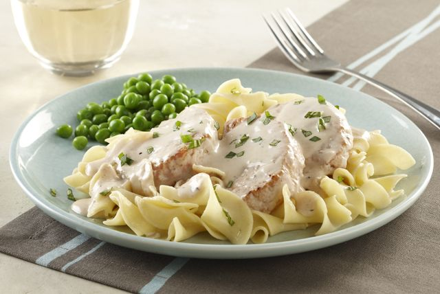 Our quick and creamy Alfredo sauce is the crowning glory of this delicious pork recipe.