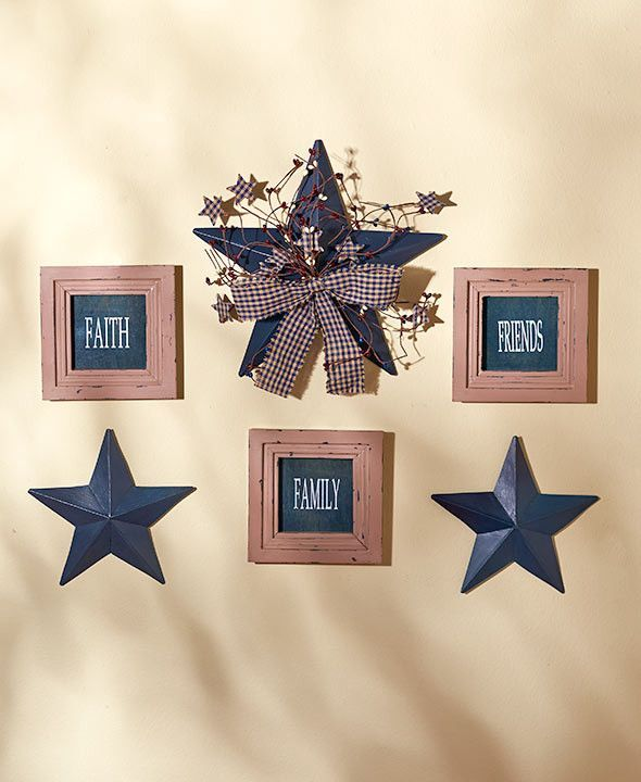 The 6-Pc. Sentiment and Star Wall Decor is a delightful addition to your country home. Included are 3 metal stars and 3 frames. The largest star is embellished with a ribbon, vines and berries, and ea