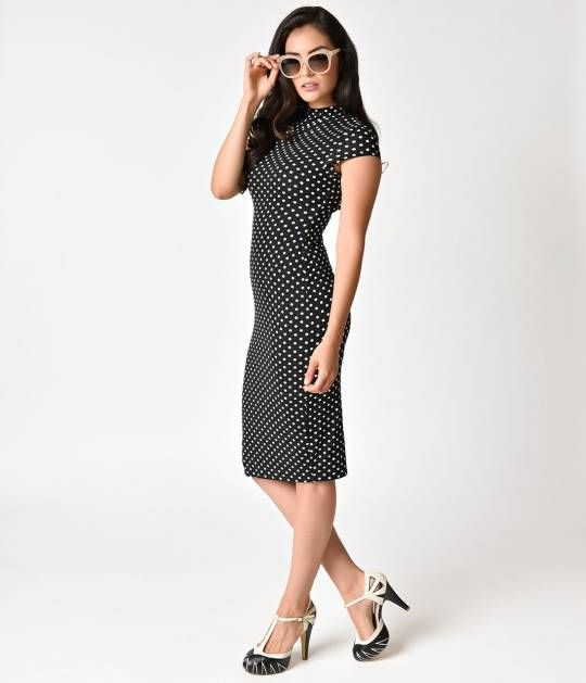 Holly has us dreaming of polka dots, dolls! A lovely black and white dotted wiggle dress, The Holly Dress is crafted in a soft knit fabric that easy contours to your silhouette, with a regal banded high neckline and chic cap sleeves to exude an aristocrat