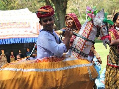 Folk performers in Samode Bagh, Rajasthan India