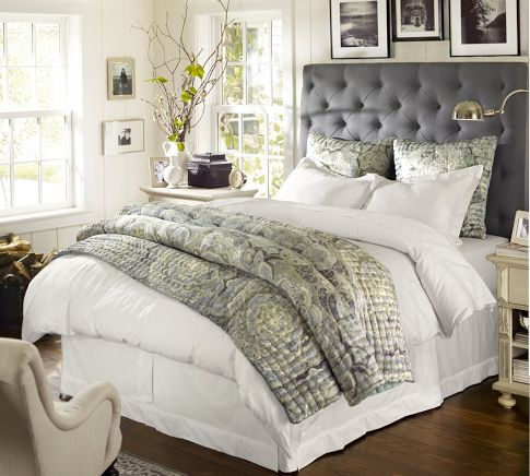 Adriana silk quilt sham pottery barn bedding bath pinterest quilted headboard grey Master bedrooms with upholstered beds
