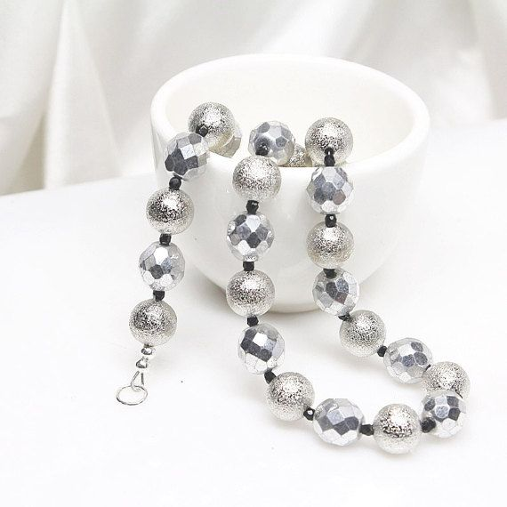 Silver Beaded Necklace Czech Glass Necklace by ElandraDesigns