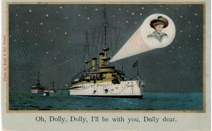 US Navy Battleship Searchlight Projects Beautiful Lady Oh Dolly Song ca 1910