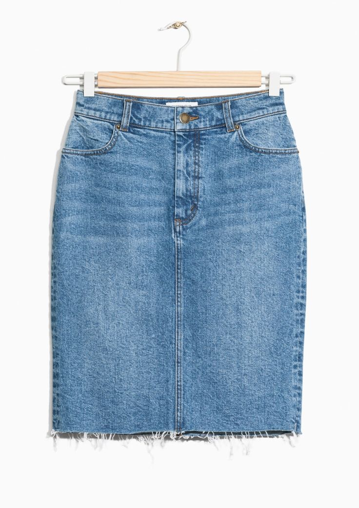 & Other Stories image 1 of Raw Edge Denim Skirt  in Blue