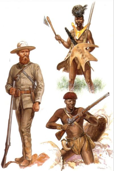 A Boer commando of the Orange Free State, and two native warriors of the Transvaal, during the Free State-Basotho Wars. While the upper warrior still sports traditional weapons and garb, with firearms becoming more and more available, suchaccoutrementswere abandoned, as they were unneeded in battle.