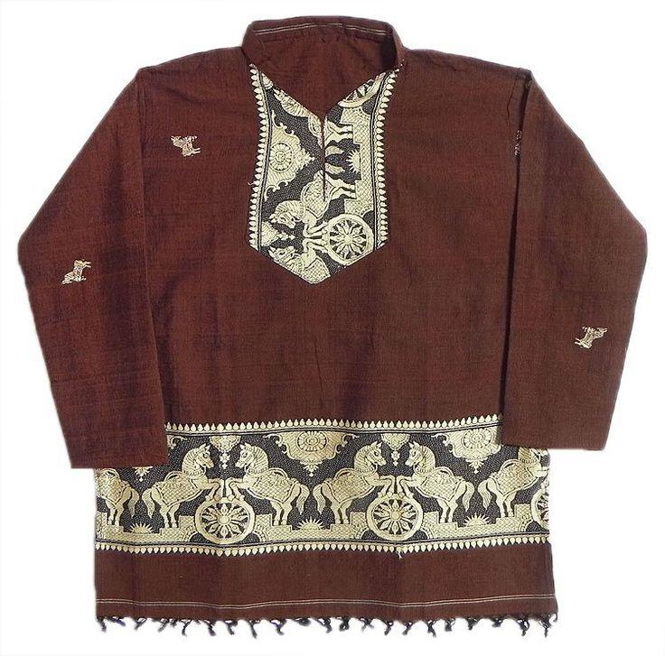 Dark Rust Full sleeve Kurta with Baluchari Weaved Design (Cotton)