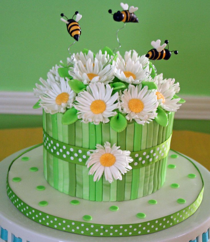 Bumble Bee Daisy Cake #http://www.timelesstreasure.theaspenshops.com/product/baby-shower-cakes.html