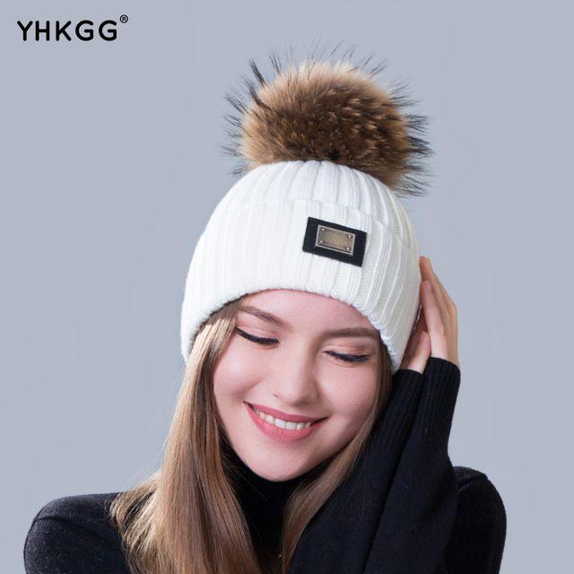2016 новый вязаная шапка Женская мода большой Реального Ракун Меховой пом пом Шапочки Вязаные Шапки Для Женщин Зимний Симпатичные Повседневная Cap Женщины шапочки
