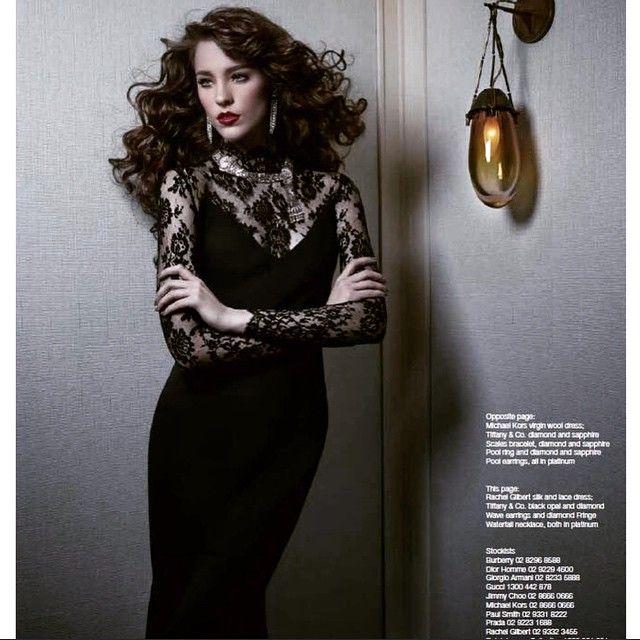 Nicole Pollard wears Custom Rachel Gilbert Silk Lace Gown exclusive for @tiffanyandco @wishmagazine The Australian
