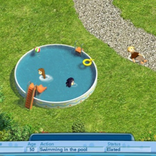 My virtual family sucks... He floated OUT of the pool.