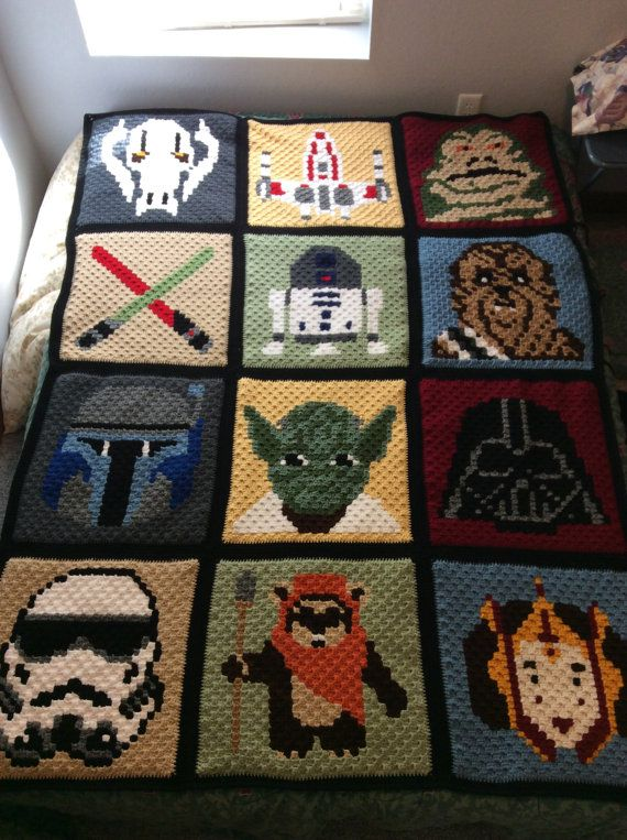 Star Wars Inspired Afghan Quilt Colorful by SensibleDesigns
