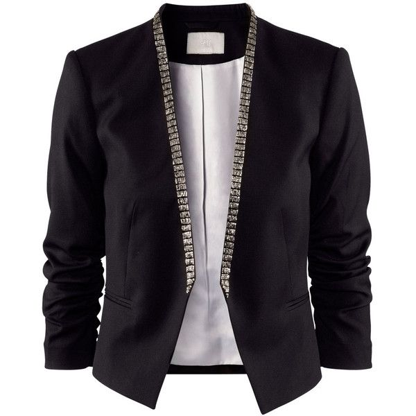 H&M Jacket (3.530 RUB) found on Polyvore featuring women's fashion, outerwear, jackets, blazers, casacos, tops, black, beaded jacket, h&m jackets and lined jacket