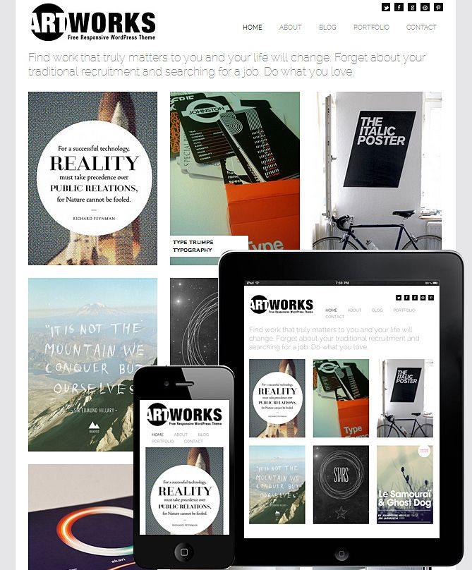 Art Works FREE Responsive WordPress Theme with infinite scroll great