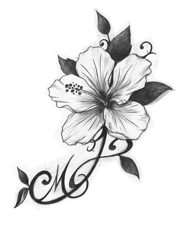HIBICUS, Un magnifique dessin,dont la destinaire appreciera la finesse,  elle qui aimait · Tatouage OrchideeCouteau