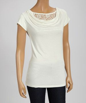 Look what I found on #zulily! Ivory Lace Drape Top - Women by Pine Apparel #zulilyfinds