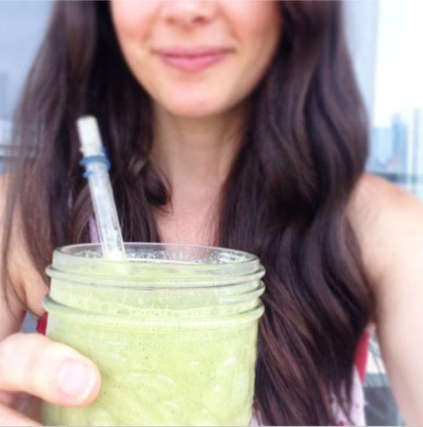 Joy McCarthy drinking the Green Electrolyte Smoothie