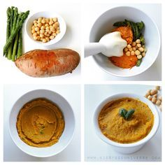 Asparagus, chickpea & sweet potato purée I would serve this at [6m+] such a creamy purée.