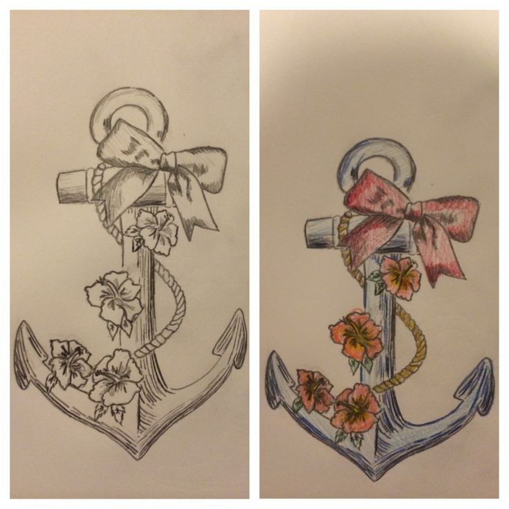 Anchor tattoo, bow and flowers, hibiscus, navy girl tattoo